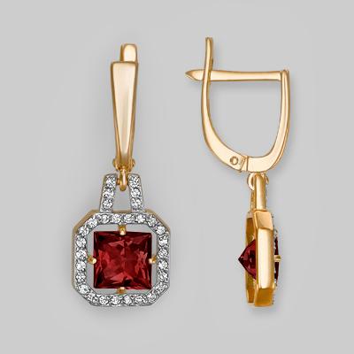 Серьги из красного золота со вставками: гранат, фианит