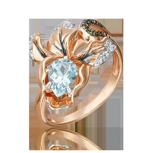 Кольцо из красного золота со вставками: топаз, хромдиопсид