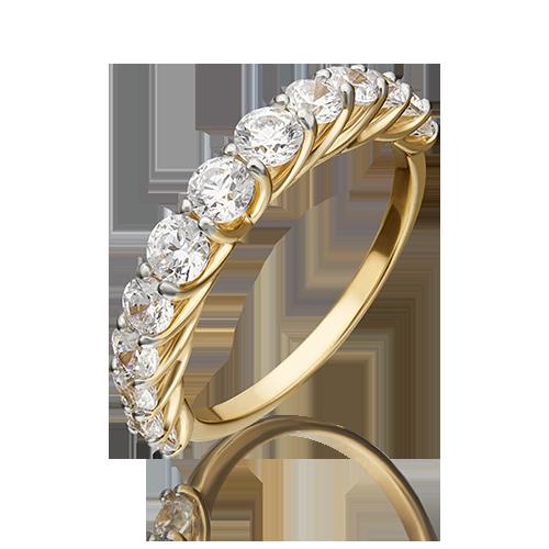 Кольцо из лимонного золота со вставками: Сваровски gems