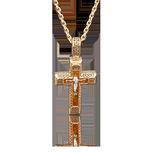 Подвеска-крест из красного золота со вставками: янтарь