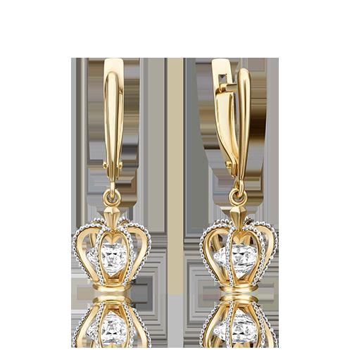 Серьги из белого с лимонным золота со вставками: Сваровски gems