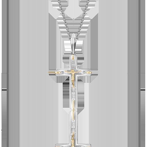 Подвеска-крест из белого с лимонным золота